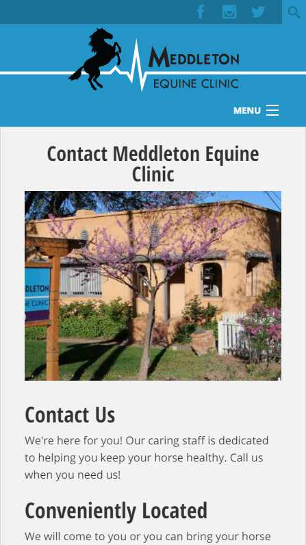 Meddleton Equine Clinic - mobile website screenshot - contact page